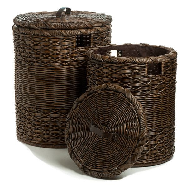 Round Hamper Antique Walnut Brown Nested Set of 2