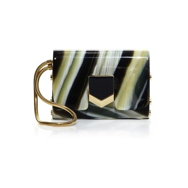 Jimmy Choo Lockett Striped Minaudiere ($1,795) ❤ liked on Polyvore featuring bags, handbags, clutches, black mix, striped handbag, striped purse, jimmy choo, stripe purse and jimmy choo purses