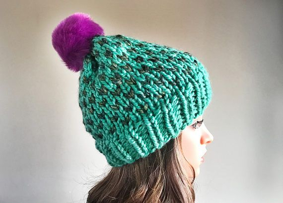 Disney Hat / Ariel Princess Hat / Princess Hat / Slouch Knit Hat / Chunky  Winter  Hat /  Women's Winter Hat / Knitted Hat / Pom Pom