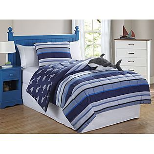 furry friends shark stripe 3 piece twin comforter set less at kmartcom