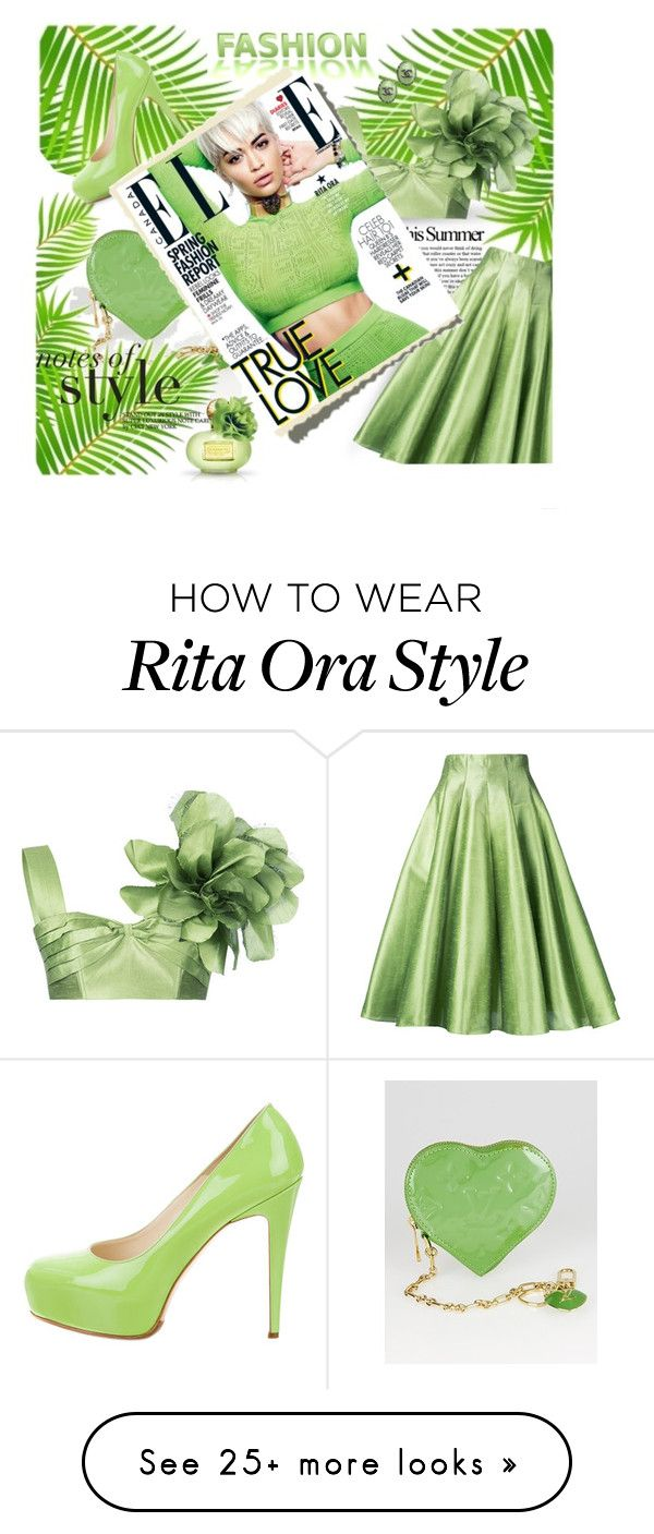 """""""Green Skirt"""" by neverboring on Polyvore featuring Louis Vuitton, Bambah, Chanel and Brian Atwood"""