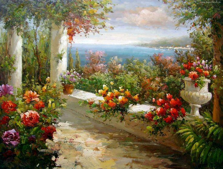 Taras, Ogród, Kwiaty, Obraz