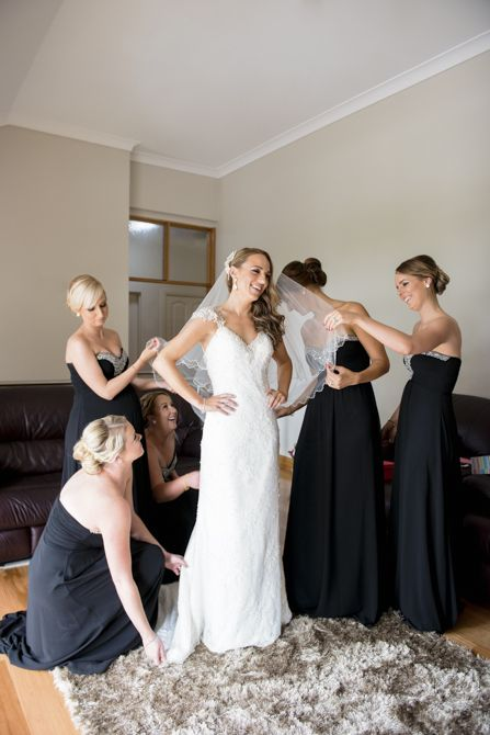 Black bridesmaids dresses make for an elegant bridal party and creates great contrast with our bride #markjayphotography #sydneyweddingphotographer #weddingphotography #bride #bridesmaids #dress