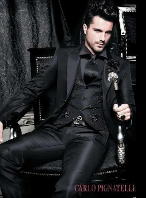 A hot all-black groom's look.