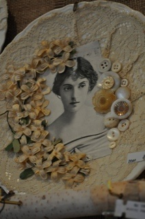 Decoupaged Plate With Vintage Photo, Lace, Flowers, & Buttons