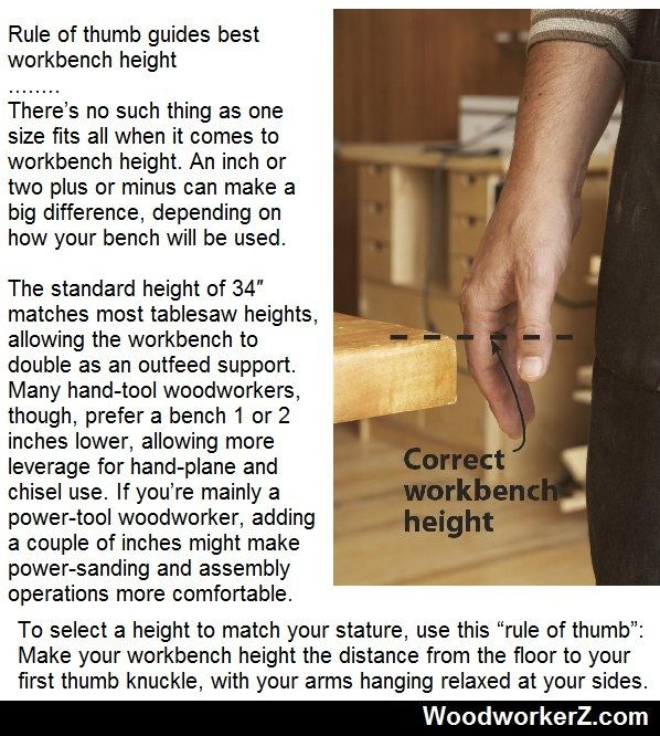 Rule of thumb guides best workbench height | WoodworkerZ.com