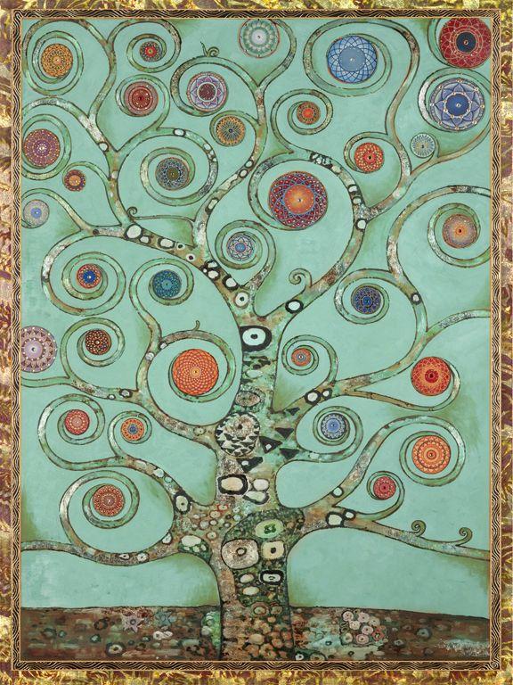 Mandala Tree Aqua, Paul Heussenstamm  Need More Wall Art Ideas? Visit Centophobe.com (Never an Empty Room)