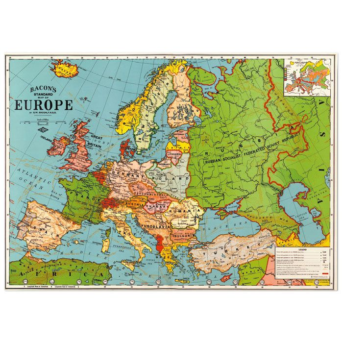 Europe Map 3 - wrapping paper from Cavallini & Co. Available at Bobangles.