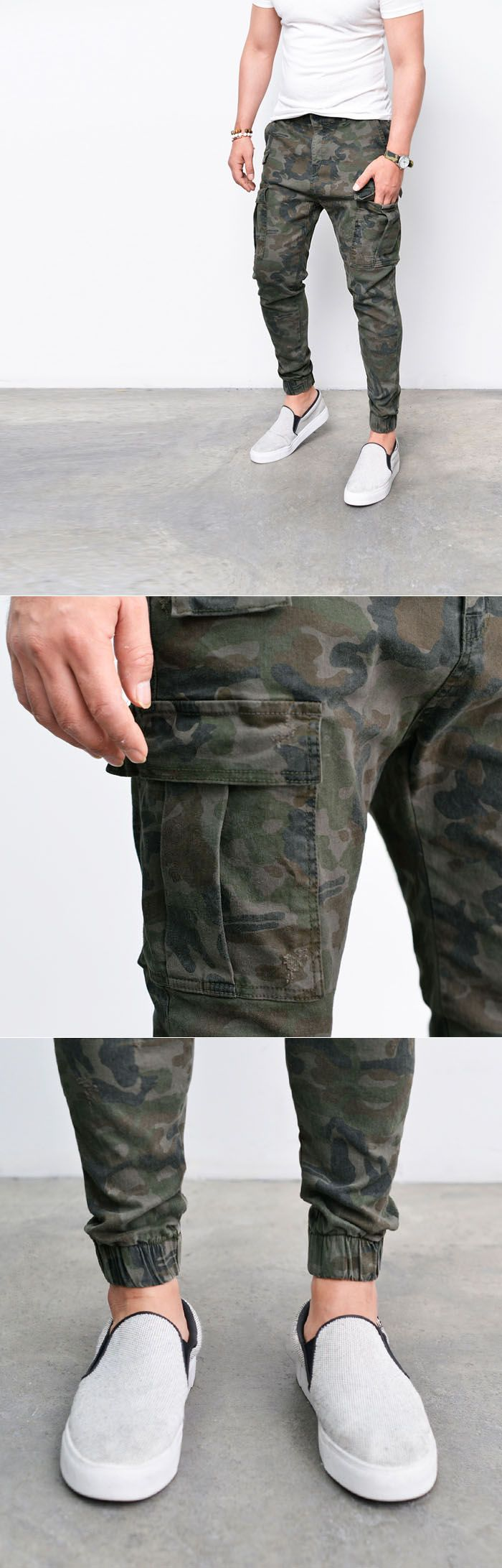 Bottoms :: Camouflage Semi Cargo Biker Jogger-Pants 192 - Mens Fashion Clothing For An Attractive Guy Look