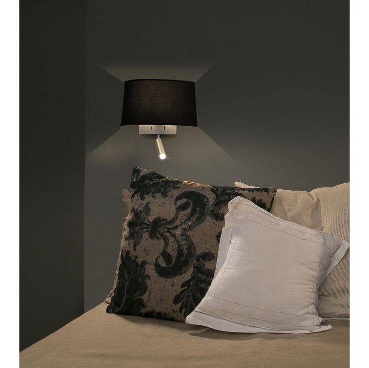 applique noire avec liseuse led pratique pour lire dans. Black Bedroom Furniture Sets. Home Design Ideas