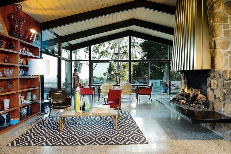 Mid Century House By Native Son Design Studio House And Home Pinterest 005 House Design And Fireplaces