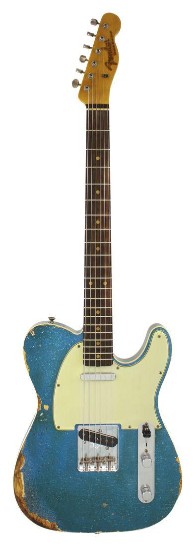 Fender Custom Shop 1960 Telecaster Custom Relic Aged Blue Sparkle   Rainbow Guitars