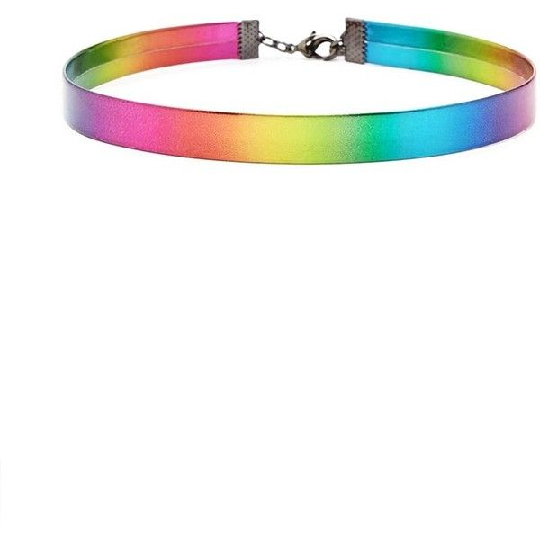 Forever21 Faux Leather Rainbow Choker ($4.90) ❤ liked on Polyvore featuring jewelry, necklaces, forever 21, vegan jewelry, forever 21 jewelry, forever 21 choker and forever 21 necklaces
