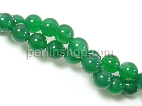 Natürliche grüne Achat Perlen, Grüner Achat, rund, 14mm, Bohrung:ca. 1.5-2mm, Länge:ca. 15 Inch