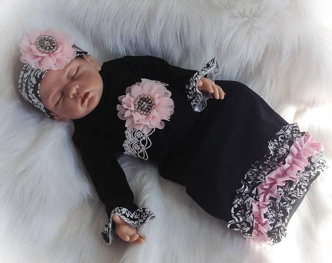 6-12 Months, Pink Hat//Pink Flower Damask Baby Hat