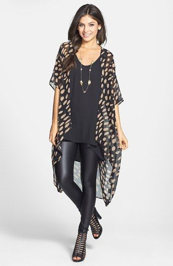 Break up an all black ensemble by adding a patterned kimono. Long ones are also perfect with leggings.
