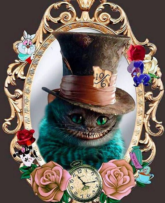 BUY 2, GET 1 FREE! Cheshire Cat Alice in Wonderland Stained Glass Disney 151 Cross Stitch Pattern Counted Cross Stitch Chart, Pdf