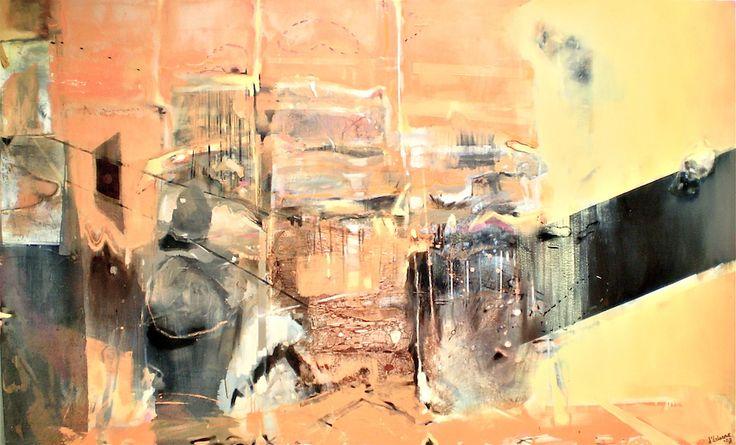 ELAINE d'ESTERRE - Nitmiluk Edifice, 2008, oil on canvas 120x240 cm from series titled An Archaeology of Landscape by Elaine d'Esterre. at http://elainedesterreart.com and http://www.facebook.com/elainedesterreart/ and http://instagram.com/desterreart/
