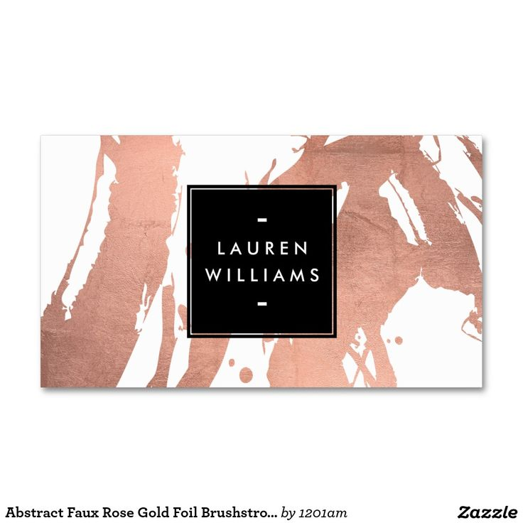 Abstract Faux Rose Gold Foil Brushstrokes on White Business Card - Great design template for makeup artists, interior designers, bloggers, jewelry designers and more. Click to customize!