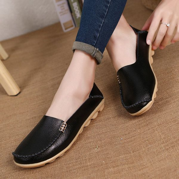 $15.39 Big Size Pure Color Soft Slip On Leather Casual Comfortable Lazy  Flat Shoes