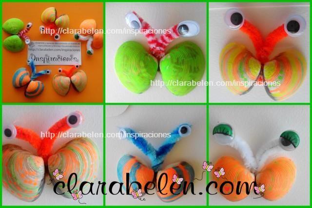 Mariposas hechas con conchas de almejas y limpiapipas - Cosas de manualidades para ninos ...