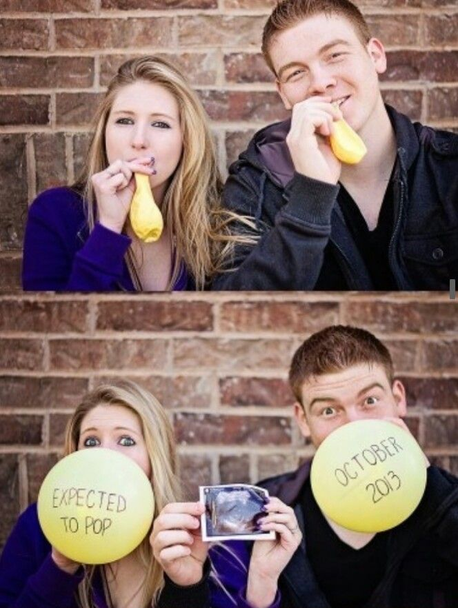 cute baby announcement yellow balloons w/ sonogram pic