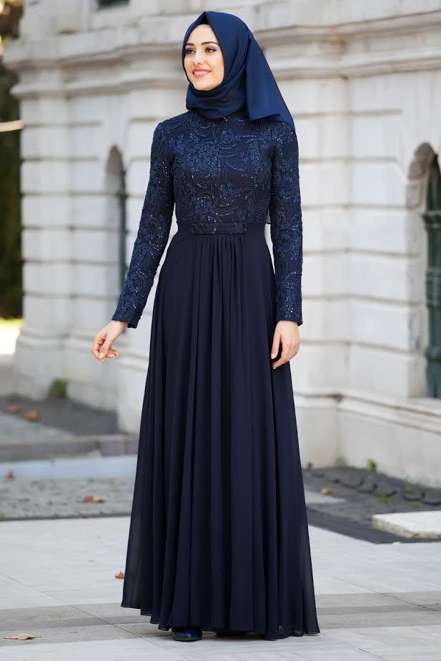 Tesettürlü Abiye Elbiseler - Hakim Yaka Lacivert Abiye Elbise - Tesetturisland.com