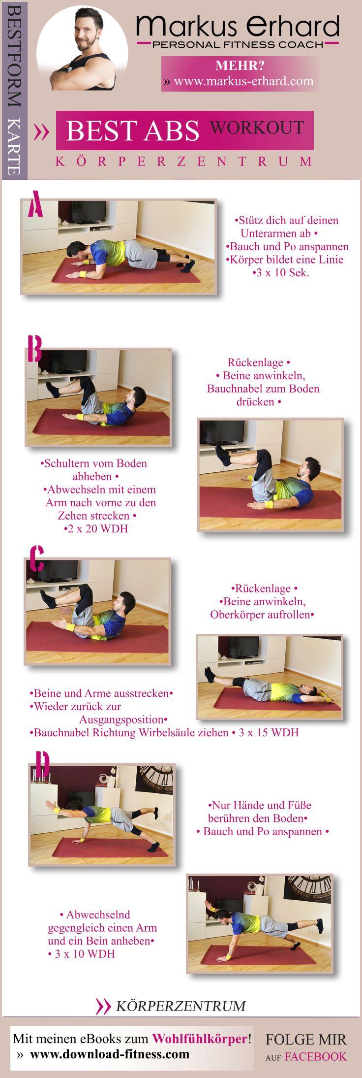 Hol dir die besten Bauchmuskeln! Mit diesem Workout ganz einfach zuhause loslegen! Re-pin it oder speichern und ausdrucken!