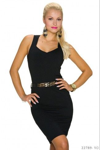 Μίνι φόρεμα με πλέξη rib και ζώνη - Μαύρο