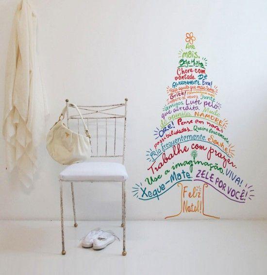 decoracao adesivos de parede arvore de natal com mensagens