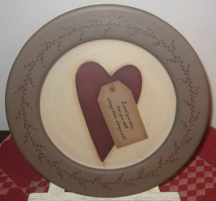 HAND PAINTED WOODEN PLATE~ FOLK~VALENTINE ~ LOVE~ PRIMITIVE ~ SIGNED~ HEART & 58 best Wooden plates images on Pinterest | Wooden plates ...