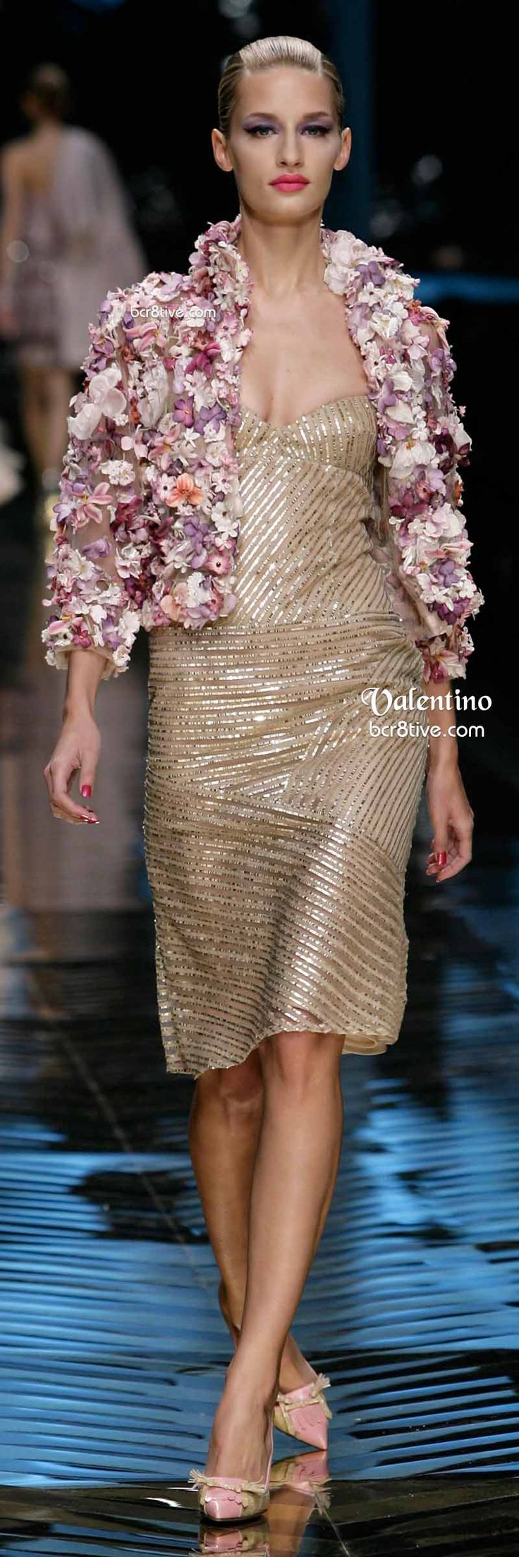 Valentino Floral Applique Jacket and Gold Beaded Dress