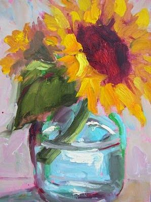 Daily Painters Abstract Gallery: Sunflower In Jar II Acrylic Still ...