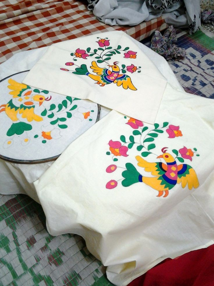 Fabric Painting On Pillow Cover Fabric Paintings