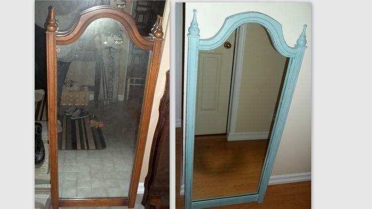 Old Mirror Annie Sloan Chalk Paint Duck Egg Blue