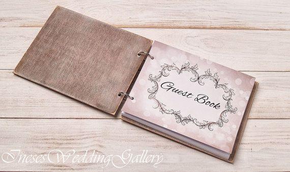 Guest Book Custom Wood Wooden Wedding by InesesWeddingGallery