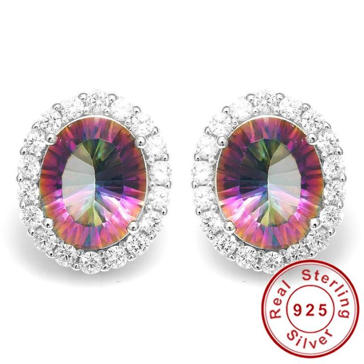 Luxury 6ct Oval Genuine Rainbow Fire Mystic Topaz Earrings Stud Only $35.69 => Save up to 60% and Free Shipping => Order Now! #Bracelets #Mystic Topaz #Earrings #Clip Earrings #Emerald #Necklaces #Rings #Stud Earrings