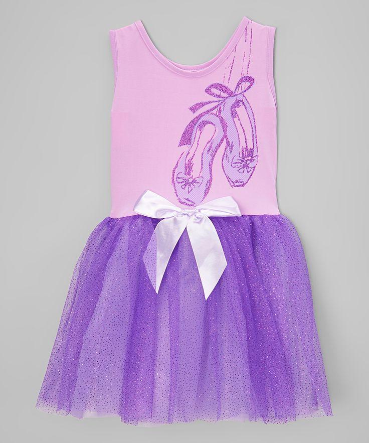 Purple Ballet Shoes Tank Dress - Toddler & Girls