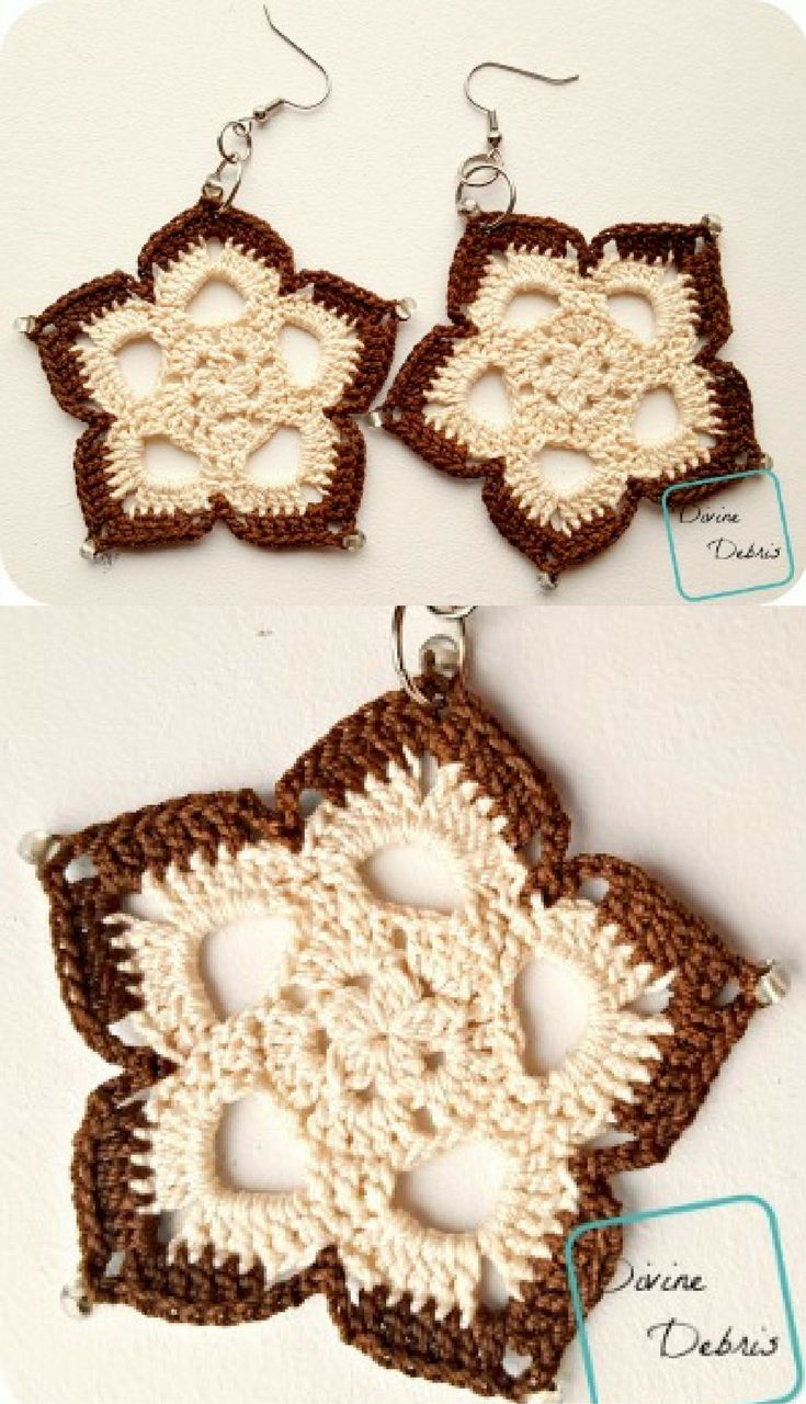 Crochet pattern: Mini Mandala Earrings