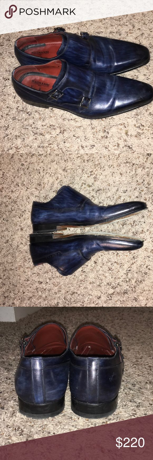 Magnanni navy blue dress shoe Navy blue men's dress shoe-Magnanni almond toe double monk strap #monkstrap #magnanni #mens Magnanni Shoes Loafers & Slip-Ons