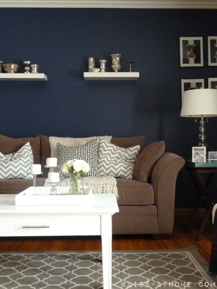 Gasp these colors except i would want backward the tan for Living room navy walls