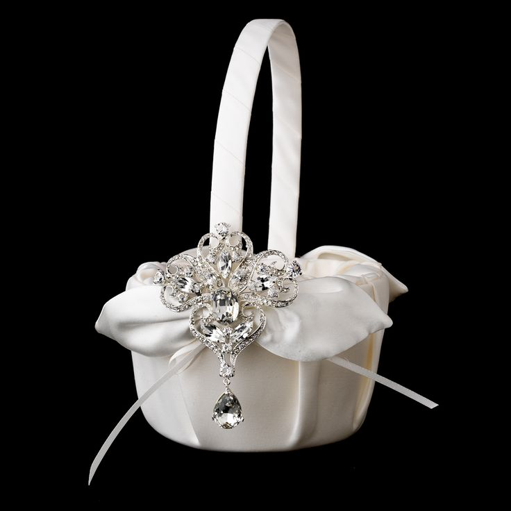 Flower Girl Basket with Dangling Pear & Marquise Crystal Brooch