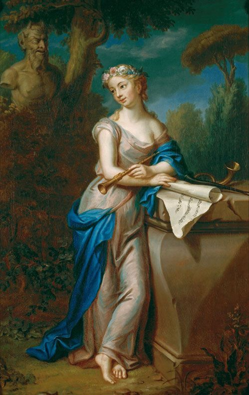 Euterpe (1775). Emmanuel Jakob Handmann (Swiss, 1718-1781). Oil on canvas. Jegenstorf Castle. In Greek mythology, Euterpe was one of the Muses, the daughters of Mnemosyne, fathered by Zeus. When later poets assigned roles to each of the Muses, she was the muse of music. In late Classical times she was named muse of lyric poetry and was depicted holding a flute.