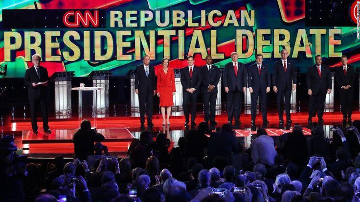 LAS VEGAS, NV - DECEMBER 15:  (L-R) CNN anchor Wolf Blitzer looks on as Republican presidential candidates Ohio Gov. John Kasich, Carly Fiorina, Sen. Marco Rubio (R-FL), Ben Carson, Donald Trump, Sen. Ted Cruz (R-TX), Jeb Bush, New Jersey Gov. Chris Christie and Sen. Rand Paul (R-KY) are introduced during the CNN presidential debate at The Venetian Las Vegas on December 15, 2015 in Las Vegas, Nevada. Thirteen Republican presidential candidates are participating in the fifth set of…