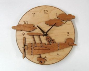 Kids Wooden Airplane Clock Airplane Nursery Decor