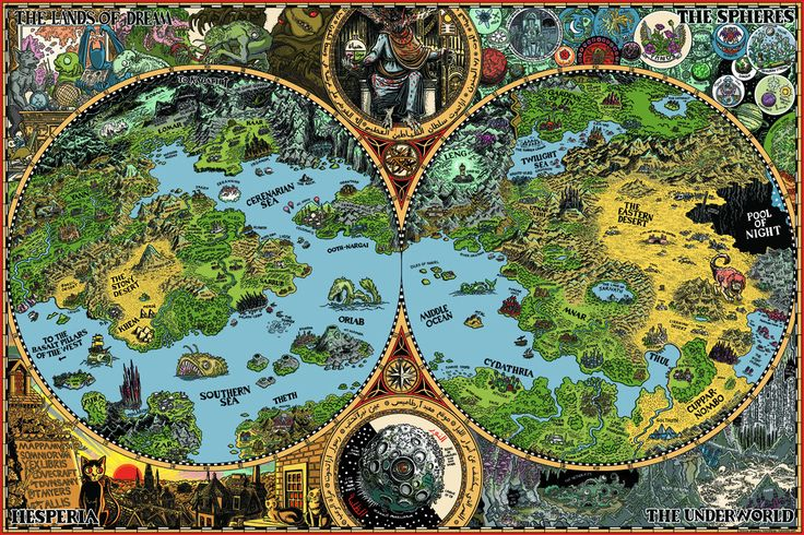 Dreamland Poster 24x36 Fantasy map, Lovecraft, Imaginary