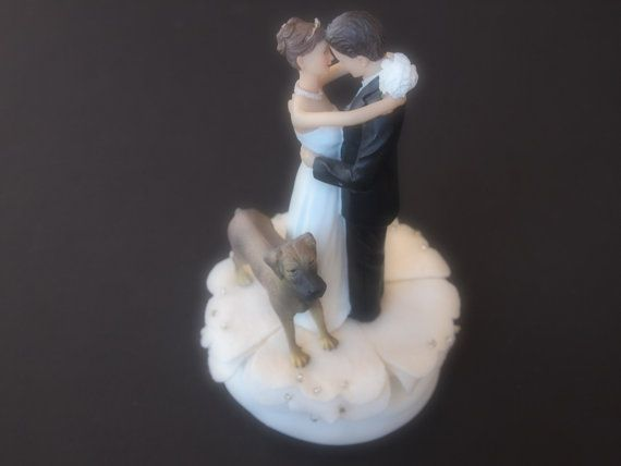 Cake Topper Wedding Ivory Great Dane Dog by ArtisanFeltStudio