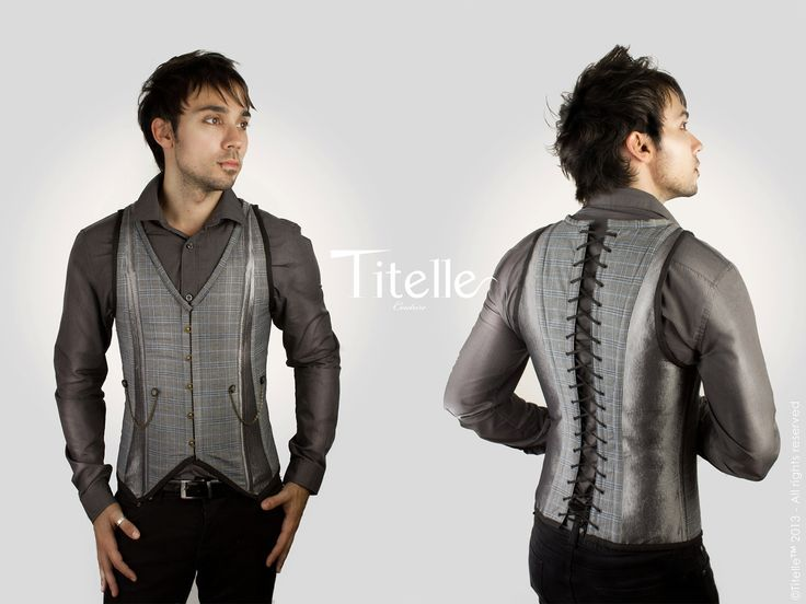 "NEW COLLECTION 2013 TITELLE men jacket corset  ""The Dandy"" - Grey, blue and antique gold"
