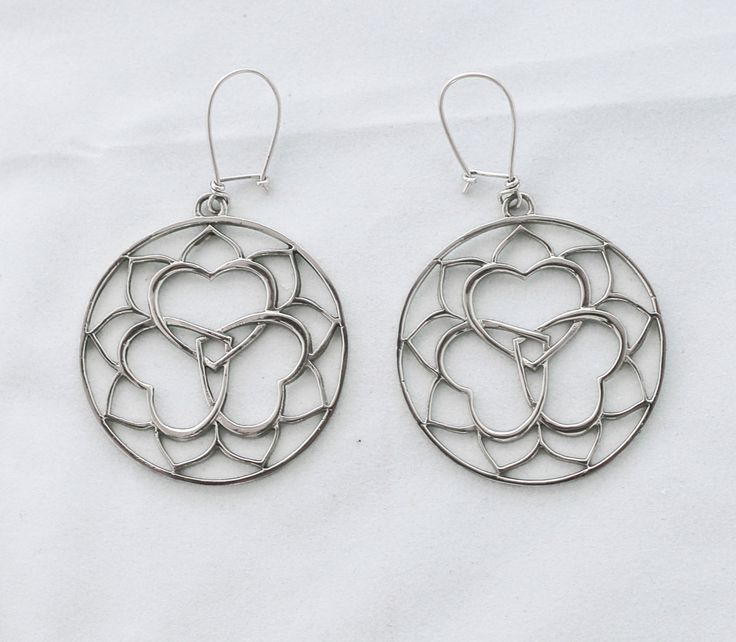 Triple Yum Earrings White Brass Sterling Silver Hooks Anahata Heart Balance Spiritual Yoga Chakra Jewellery by youareinfinite on Etsy