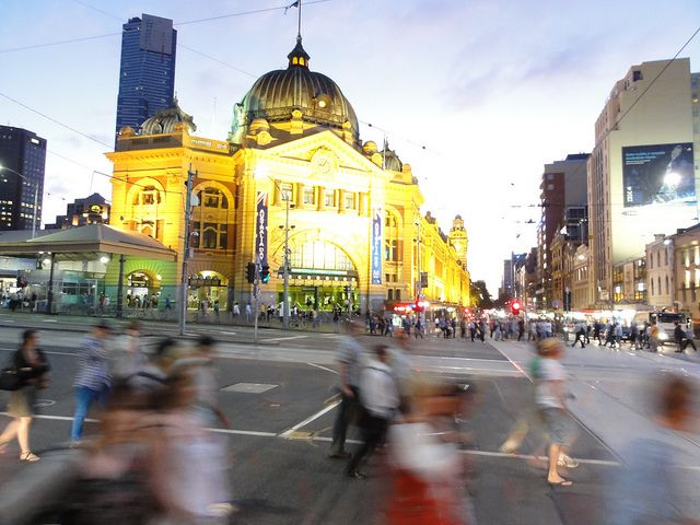 Flinders Street Station at dusk - we like this pic... the rush of life